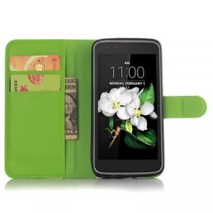 Чехол портмоне подставка с защелкой для LG K7 Зеленый