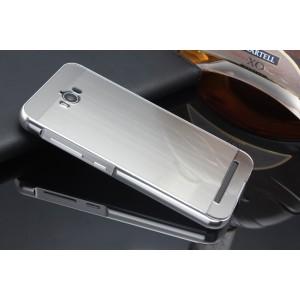 Гибридный металлический двухкомпонентный чехол и поликарбонатной крышкой текстура Металл для ASUS ZenFone Max Белый