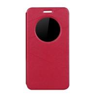 Чехол флип подставка на силиконовой основе с окном вызова текстура Линии для ASUS ZenFone Max Красный