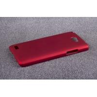 Пластиковый матовый непрозрачный чехол для LG Max Красный