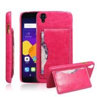 Дизайнерский чехол накладка с текстурным покрытием Кожа и отделением для карты/подставкой для Alcatel One Touch Idol 3 (4.7) Розовый