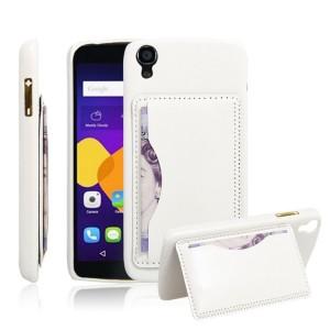 Дизайнерский чехол накладка с текстурным покрытием Кожа и отделением для карты/подставкой для Alcatel One Touch Idol 3 (4.7)