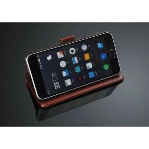 Глянцевый чехол портмоне подставка с защелкой для Meizu M2 Mini Коричневый