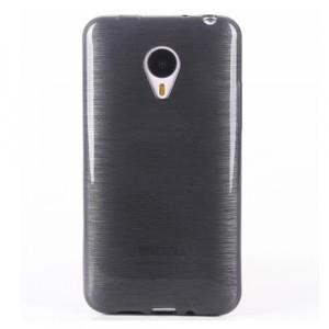 Силиконовый матовый полупрозрачный чехол Металлик для Meizu M2 Mini Черный