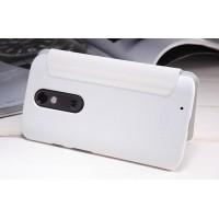 Чехол флип на пластиковой матовой нескользящей основе для Lenovo Moto X Force Белый