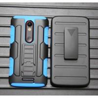 Антиударный гибридный силиконовый чехол с поликарбонатной крышкой и встроенной ножкой-подставкой для Lenovo Moto X Force Синий
