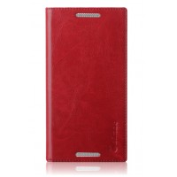 Вощеный чехол флип подставка на присоске для Lenovo Vibe X3 Красный