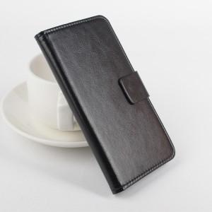 Глянцевый чехол портмоне подставка на силиконовой основе с отделением для карт для Alcatel One Touch Idol 3 (5.5) Черный