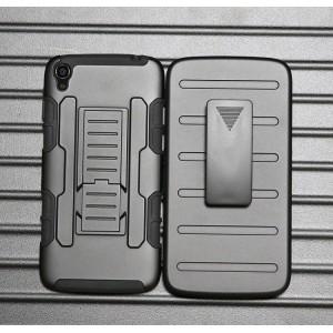 Антиударный гибридный силиконовый чехол с поликарбонатной крышкой и встроенной ножкой-подставкой для Alcatel One Touch Idol 3 (5.5) Черный
