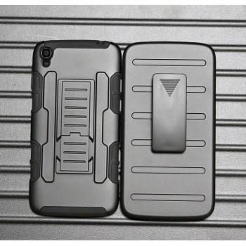 Антиударный гибридный силиконовый чехол с поликарбонатной крышкой и встроенной ножкой-подставкой для Alcatel One Touch Idol 3 (5.5)