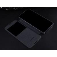 Чехол флип на пластиковой матовой нескользящей основе с окном вызова для Alcatel One Touch Idol 3 (5.5) Черный