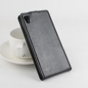 Глянцевый чехол вертикальная книжка на силиконовой основе с магнитной застежкой для Alcatel One Touch Idol 3 (5.5) Черный