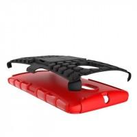 Антиударный гибридный силиконовый чехол с поликарбонатной крышкой и встроенной ножкой-подставкой для Lenovo Moto X Style Красный