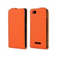 Чехол книжка вертикальная для Sony Xperia M Оранжевый