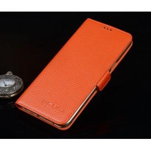 Кожаный чехол портмоне (нат. кожа) подставка для Lenovo Moto X Style Оранжевый