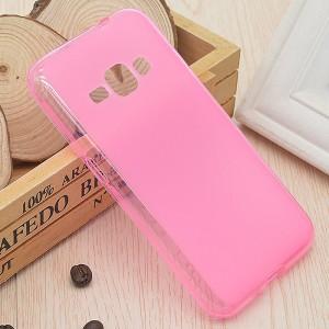 Силиконовый матовый полупрозрачный чехол для Samsung Galaxy J1 (2016) Розовый
