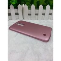Пластиковый матовый металлик чехол для LG K7 Розовый