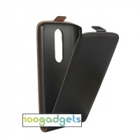 Чехол вертикальная книжка на пластиковой основе с магнитной застежкой для Lenovo Moto X Play Черный