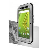 Эксклюзивный многомодульный ультрапротекторный пылевлагозащищенный ударостойкий чехол алюминиевый сплав/силиконовый полимер с закаленным защитным стеклом для Lenovo Moto X Play Серый