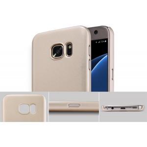 Пластиковый матовый нескользящий премиум чехол для Samsung Galaxy S7 Бежевый
