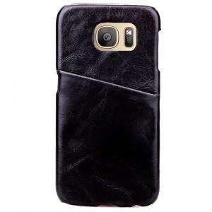 Чехол накладка с отделением для карты текстура Кожа для Samsung Galaxy S7 Черный