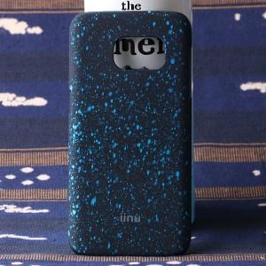 Пластиковый матовый дизайнерский чехол с голографическим принтом Звезды для Samsung Galaxy S7 Голубой