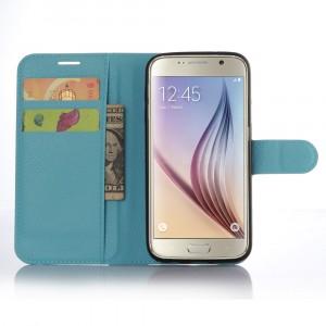 Чехол портмоне подставка с защелкой для Samsung Galaxy S7 Голубой