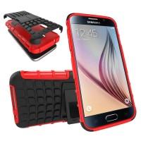 Антиударный гибридный силиконовый чехол с поликарбонатной крышкой и встроенной ножкой-подставкой для Samsung Galaxy S7 Красный
