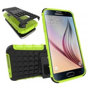 Антиударный гибридный силиконовый чехол с поликарбонатной крышкой и встроенной ножкой-подставкой для Samsung Galaxy S7 Зеленый