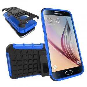Антиударный гибридный силиконовый чехол с поликарбонатной крышкой и встроенной ножкой-подставкой для Samsung Galaxy S7 Синий
