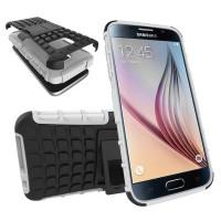 Антиударный гибридный силиконовый чехол с поликарбонатной крышкой и встроенной ножкой-подставкой для Samsung Galaxy S7 Белый