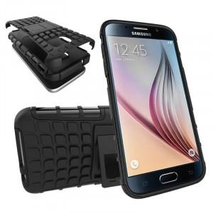 Антиударный гибридный силиконовый чехол с поликарбонатной крышкой и встроенной ножкой-подставкой для Samsung Galaxy S7 Черный