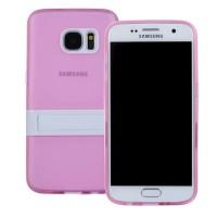 Двухкомпонентный силиконовый чехол с пластиковым бампером-подставкой для Samsung Galaxy S7 Розовый