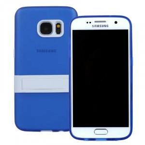 Двухкомпонентный силиконовый чехол с пластиковым бампером-подставкой для Samsung Galaxy S7 Синий