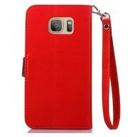 Текстурный чехол портмоне подставка на силиконовой основе с дизайнерской застежкой для Samsung Galaxy S7 Красный