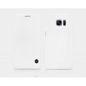 Чехол флип на пластиковой основе с отделением для карты текстура Кожа для Samsung Galaxy S7 Белый