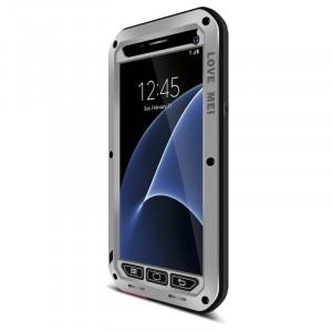 Эксклюзивный многомодульный ультрапротекторный пылевлагозащищенный ударостойкий чехол алюминиевый сплав/силиконовый полимер с закаленным защитным стеклом для Samsung Galaxy S7 Серый