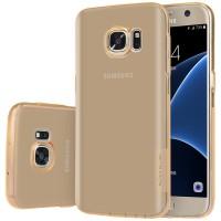 Силиконовый матовый полупрозрачный чехол повышенной ударостойкости для Samsung Galaxy S7 Бежевый