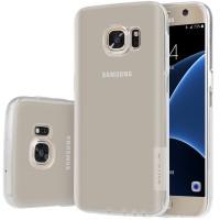 Силиконовый матовый полупрозрачный чехол повышенной ударостойкости для Samsung Galaxy S7 Белый