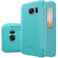 Чехол флип на пластиковой матовой нескользящей основе с окном вызова для Samsung Galaxy S7 Синий