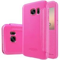 Чехол флип на пластиковой матовой нескользящей основе с окном вызова для Samsung Galaxy S7 Розовый