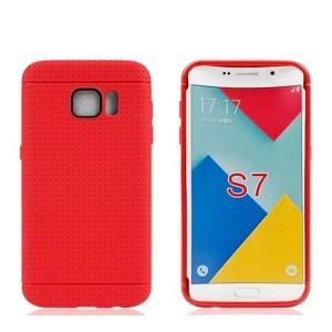 Силиконовый матовый непрозрачный чехол текстура Точки для Samsung Galaxy S7 Красный