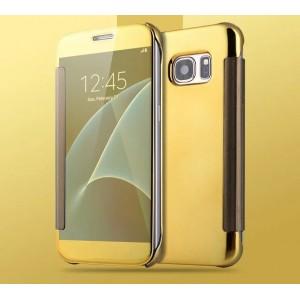 Двухмодульный пластиковый чехол флип с полупрозрачной крышкой с зеркальным покрытием для Samsung Galaxy S7 Желтый
