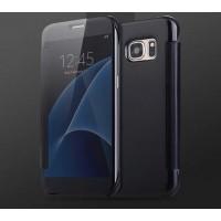 Двухмодульный пластиковый чехол флип с полупрозрачной крышкой с зеркальным покрытием для Samsung Galaxy S7 Черный