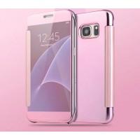 Двухмодульный пластиковый чехол флип с полупрозрачной крышкой с зеркальным покрытием для Samsung Galaxy S7 Розовый