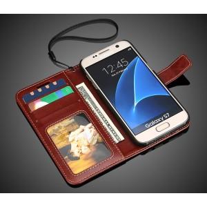 Глянцевый чехол портмоне подставка с защелкой для Samsung Galaxy S7