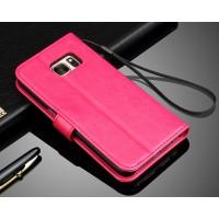 Глянцевый чехол портмоне подставка с защелкой для Samsung Galaxy S7 Розовый