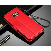 Глянцевый чехол портмоне подставка с защелкой для Samsung Galaxy S7 Красный