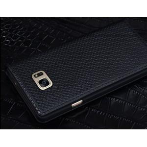 Кожаный чехол горизонтальная книжка (нат. кожа) текстура Клетка для Samsung Galaxy S7