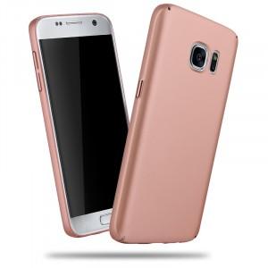 Пластиковый матовый непрозрачный чехол для Samsung Galaxy S7 Розовый